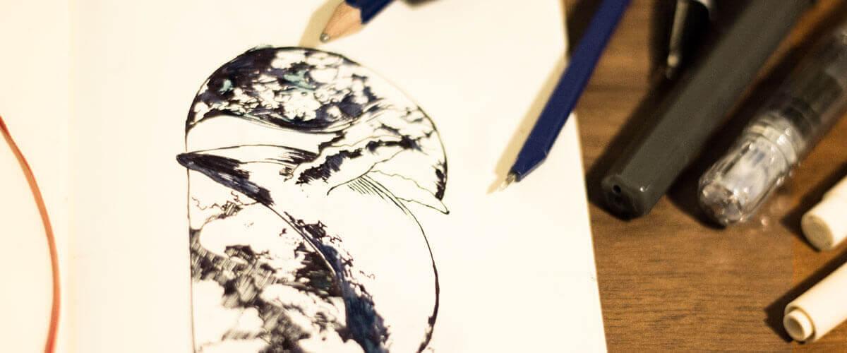 6cmkuzira ノートに描いた写真